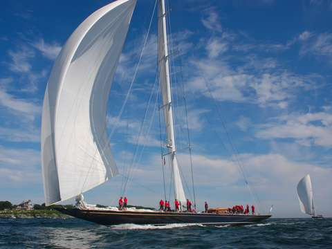 Hanuman goes downwind in newport harbor