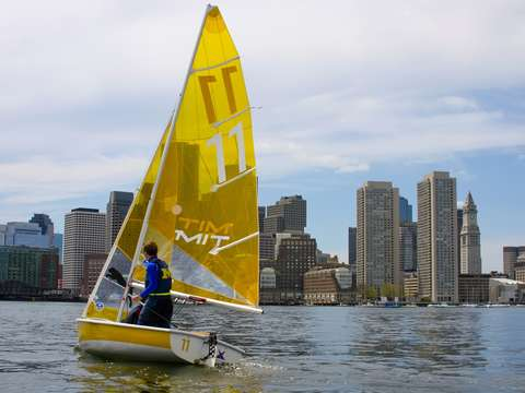 College sailing on boston harbor