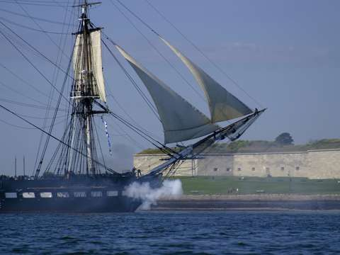 Uss constitution fires canons in boston harbor