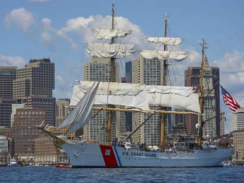 Coast guard cutter eagle leaves boston