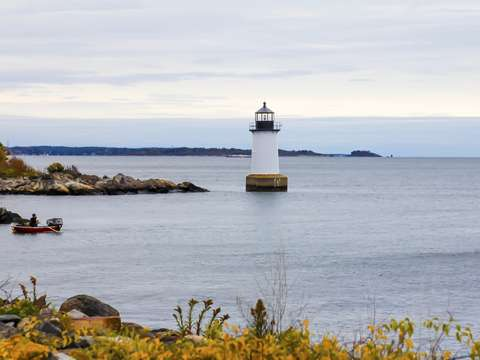 Fall lighthouse in salem massachusetts