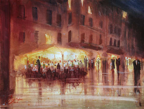 Genova italy night cafe