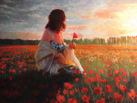 Love in a field of poppies
