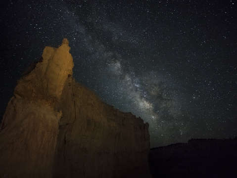 Milky way and canyon wall