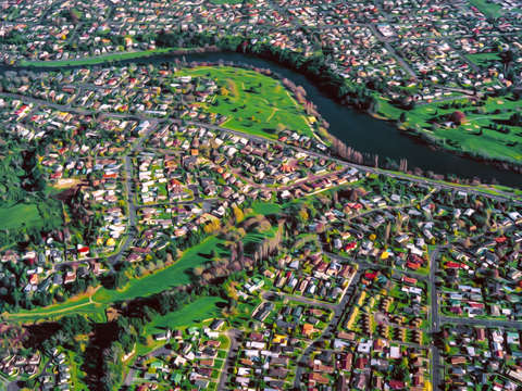 Hamilton city new zealand aerial view