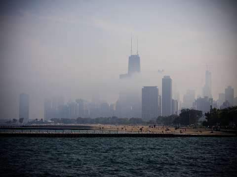Windy city full of clouds
