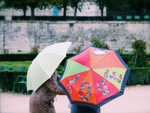 Love umbrella in the tuileries paris