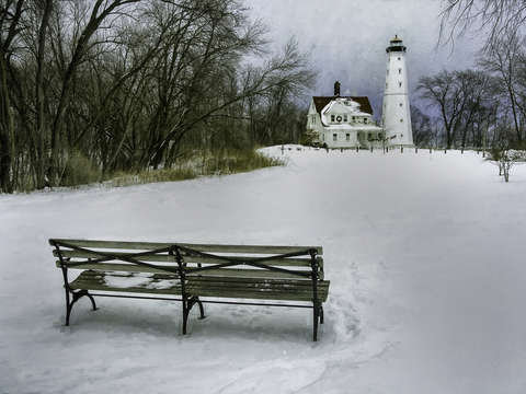 North Point Lighthouse and Bench