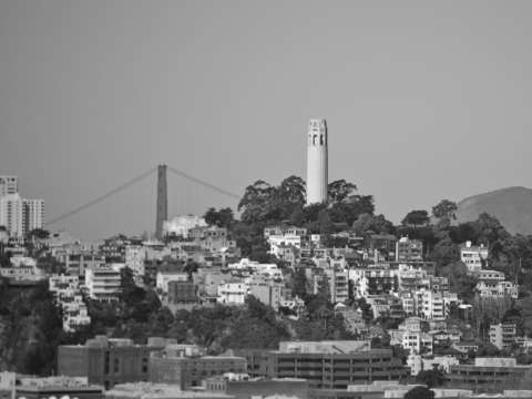 Coit tower and golden gate bridge