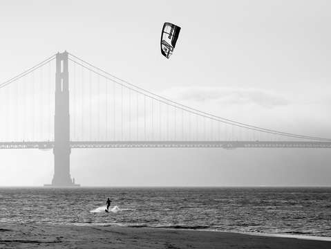 Golden gate bridge with kiteboarder