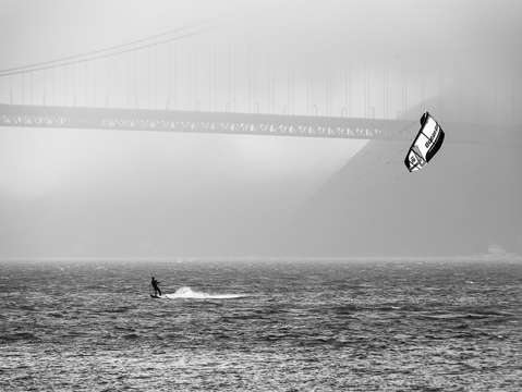 Golden gate bridge with kiteboarder 2