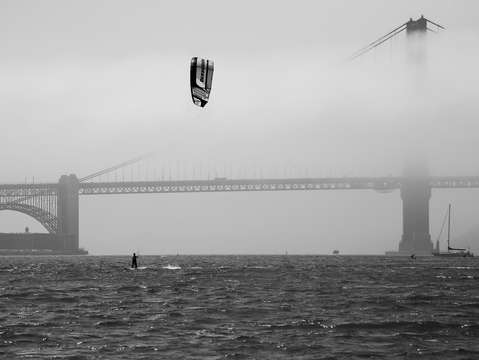 Golden gate bridge with kiteboarder 4