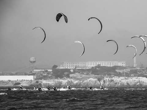 Alcatraz and kiteboarders from the bay