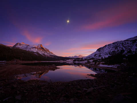Moon and jupiter over tioga lake