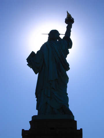 Statue of Liberty Facing The Sun