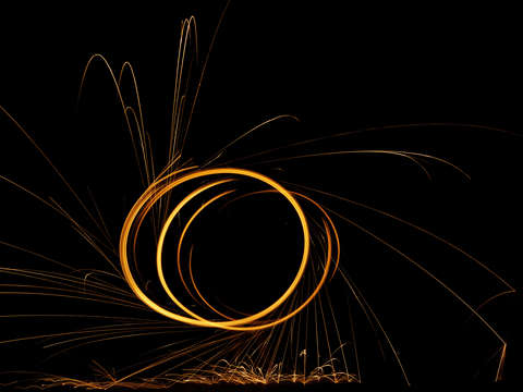 Burning steel wool circles