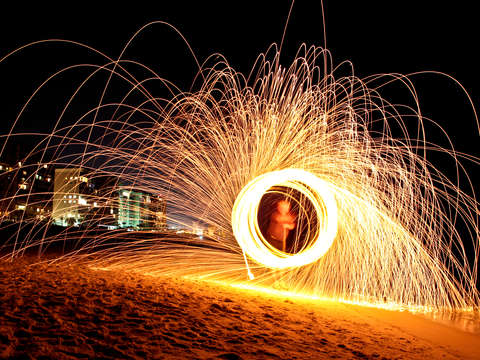 Burning steel wool in destin