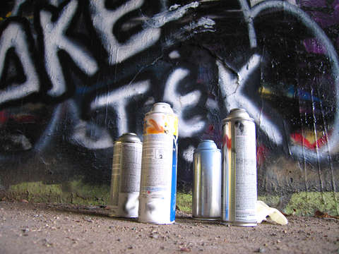Empty spray paint cans