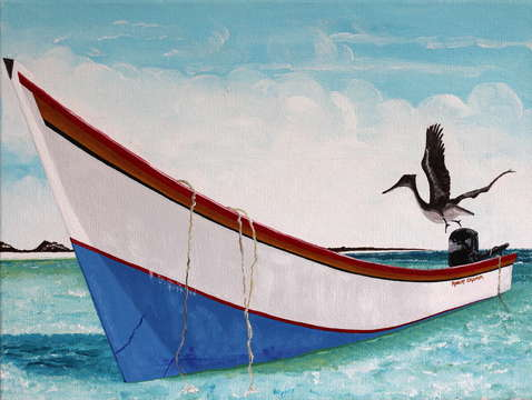 A boat and a bird