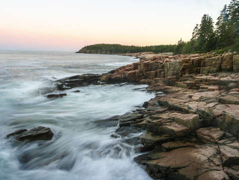 Acadia coast at sunset