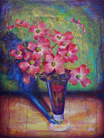 Dogwood flowers in purple vase