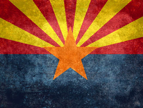 State flag of arizona with vintage retro style tre