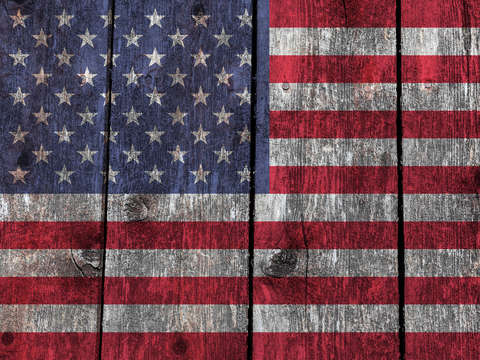 Old glory on wood