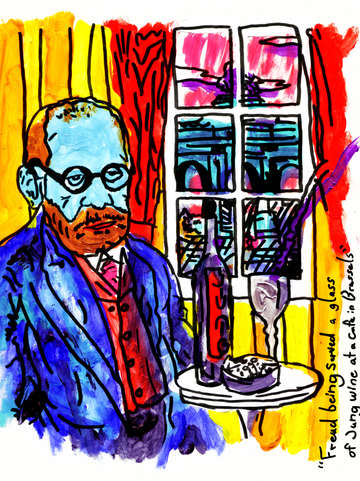 Freud being served a glass of jung wine at a cafe