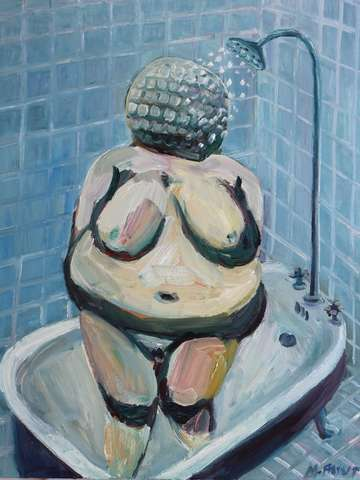 Venus of willendorf showering