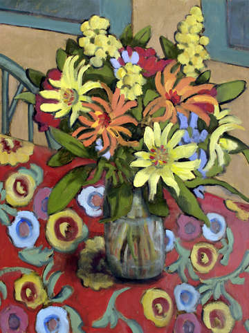 Bouquet on an oilcloth tablecloth 2