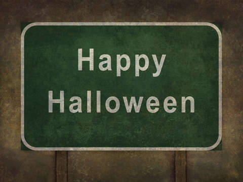 Happy halloween roadside sign