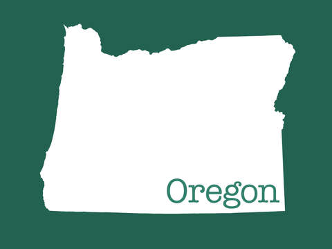 Oregon in green