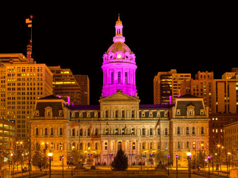 City hall in purple