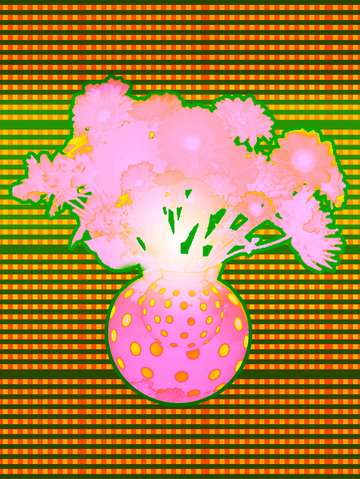 Vase with Flowers Pink/Green