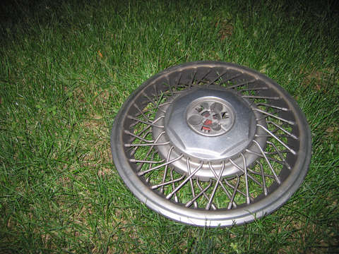 Hubcap in the grass