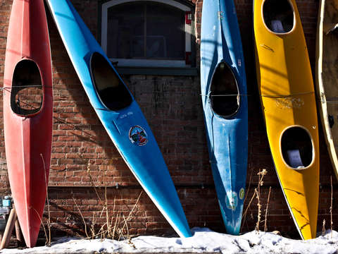 Colorful kayaks in salida colorado