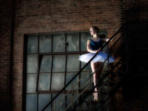 Ballet tutu on fire escape