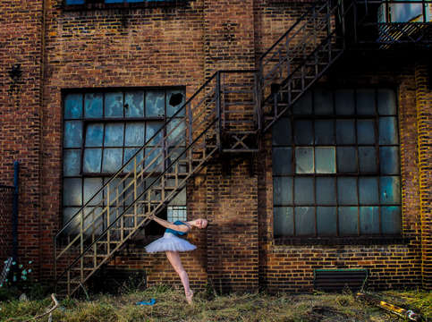 Ballet tutu under fire escape