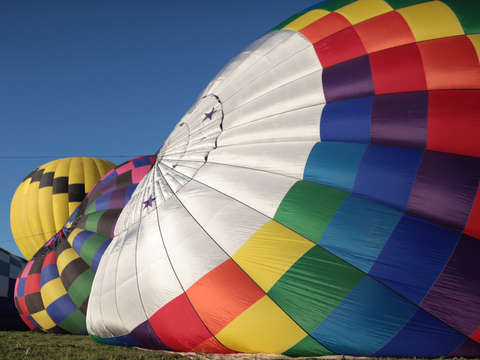 Hot air balloons being inflated