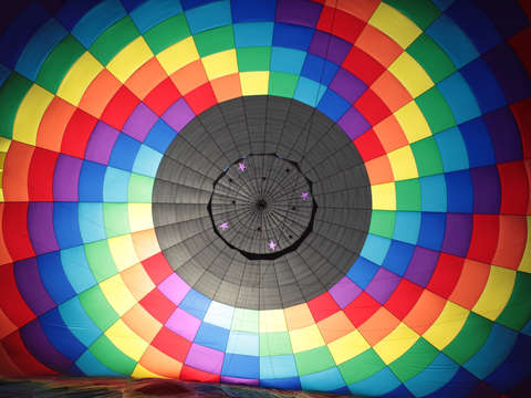 Inside a hot air balloon