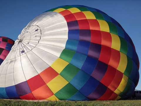 Rainbow colored hot air balloon