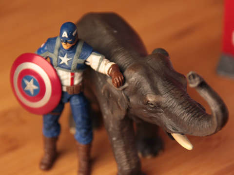 Captain america with an elephant