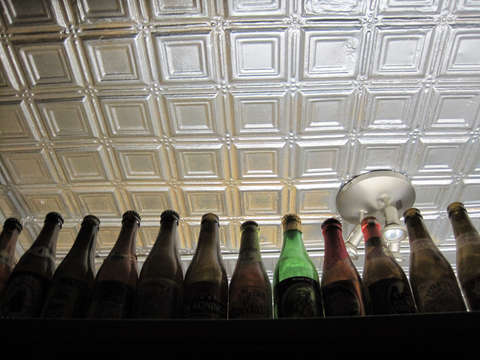 Bottles and ceiling