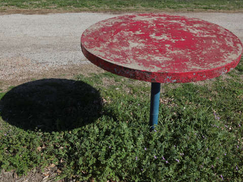 Red table and shadow