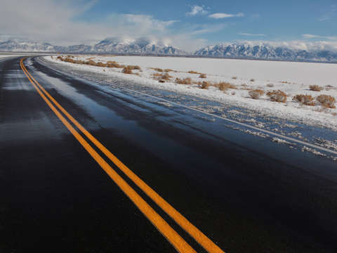 Wet road around the great salt lake