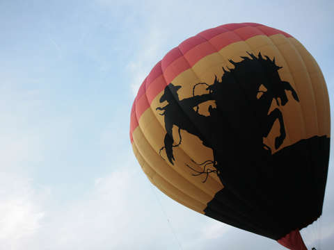 Cowboy and bronco hot air balloon