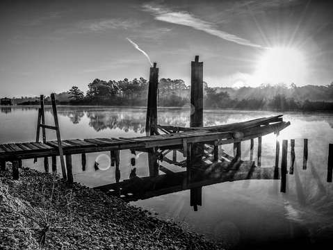 Old dock on the bon secour river bw