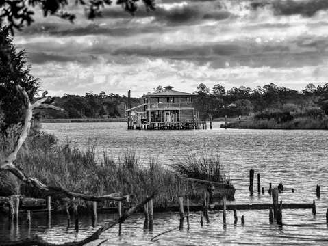 Boathouse on the Bon Secour River Alabama BW