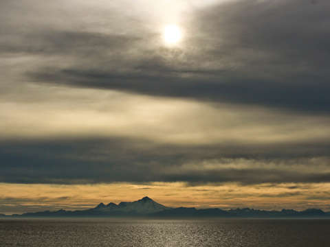 View of redoubt volcano from ninilchik alaska