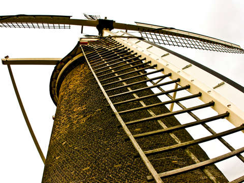 Molen De Volk Windmill in Leiden, Holland